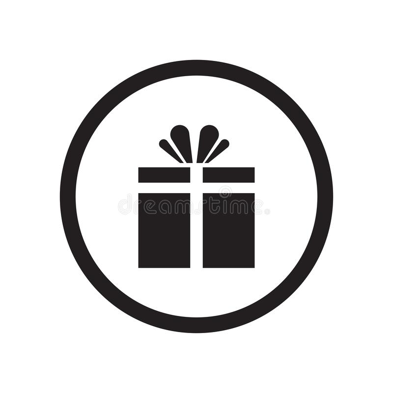 Prezenta sklepu sygnału ikony wektoru znak i symbol odizolowywający na białym tle, prezenta sklepu sygnału logo pojęcie royalty ilustracja
