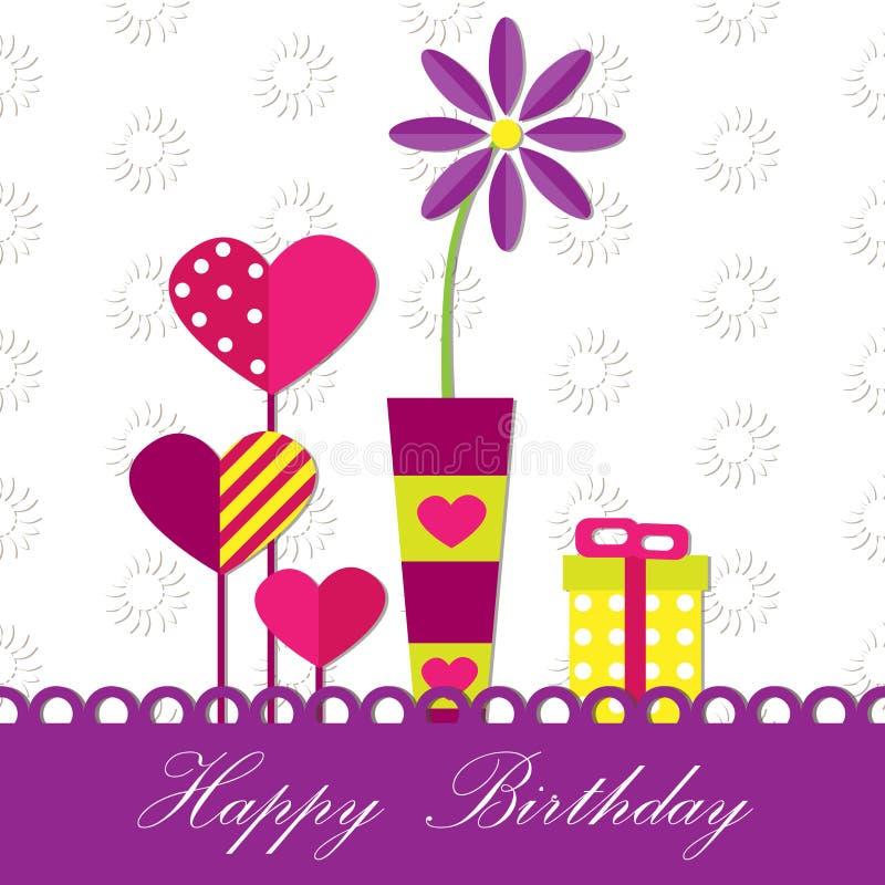 Prezenta wszystkiego najlepszego z okazji urodzin karta ilustracja wektor