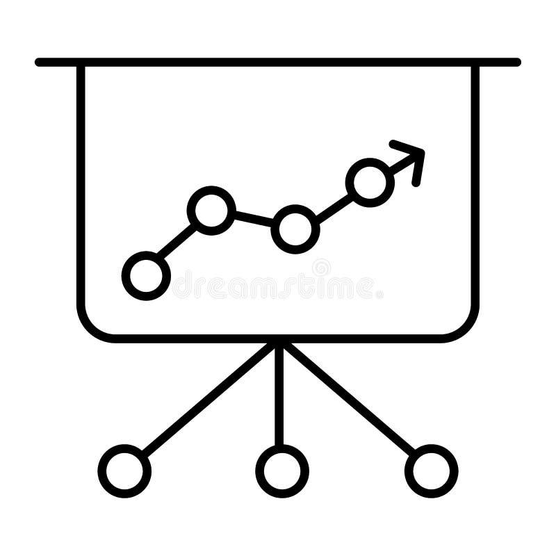 Prezentaci cienka kreskowa ikona Infographic wektorowa ilustracja odizolowywająca na bielu Diagrama konturu stylu projekt, projek ilustracji