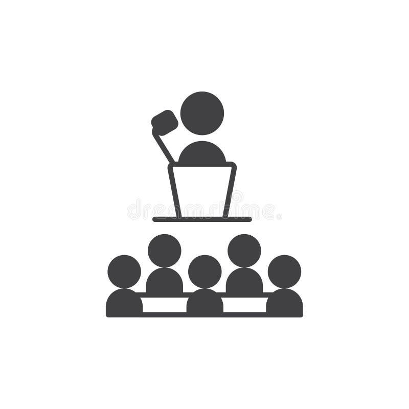 Prezentaci ikona wektoru symbolu prezentacji szyldowa ikona z nauczyciela szefem, niektóre pracodawca i uczeń lub ilustracji