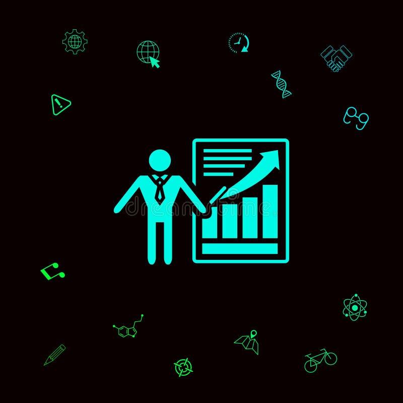 Prezentaci szyldowa ikona Mężczyzna pozycja z pointerem blisko infographic Graficzni elementy dla twój designt royalty ilustracja