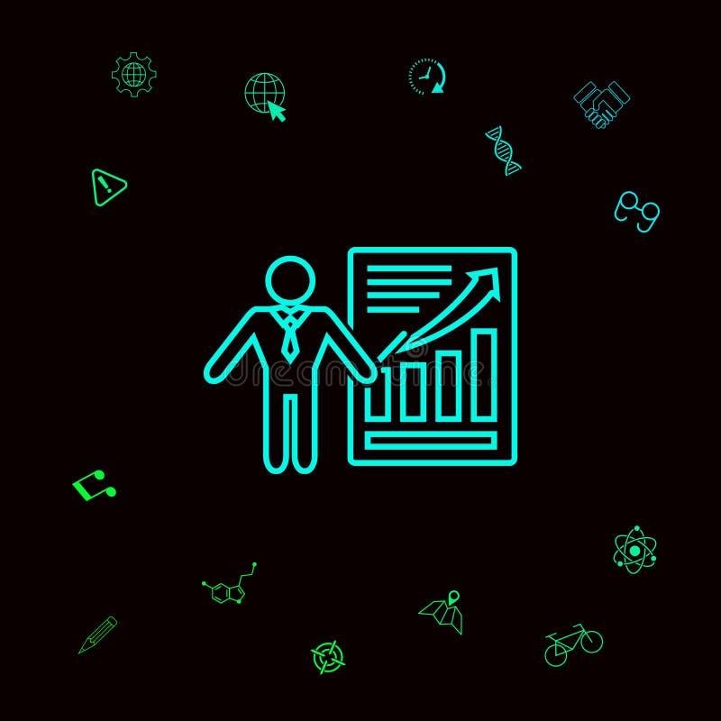 Prezentaci szyldowa ikona Mężczyzna pozycja z pointerem blisko infographic Kreskowa ikona Graficzni elementy dla twój designt ilustracja wektor