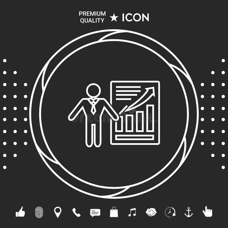 Prezentaci szyldowa ikona Mężczyzna pozycja z pointerem blisko infographic Kreskowa ikona Graficzni elementy dla twój designt royalty ilustracja