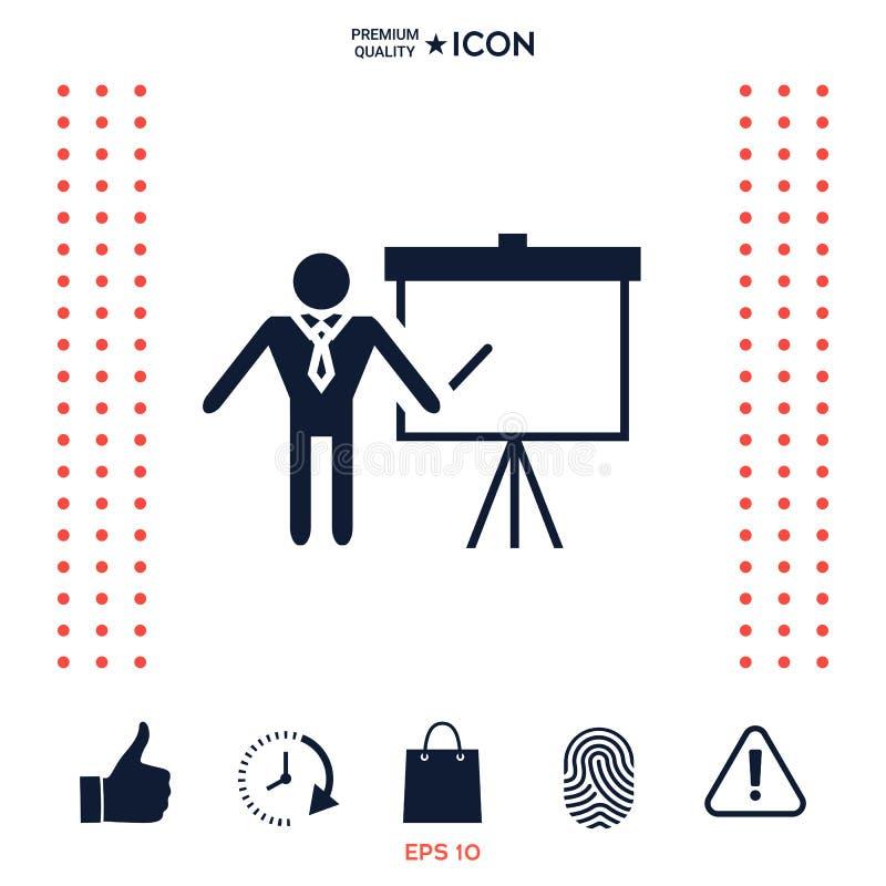 Prezentaci szyldowa ikona Obsługuje pozycję z pointerem blisko trzepnięcie mapy Puste miejsce billboardu pusty symbol royalty ilustracja