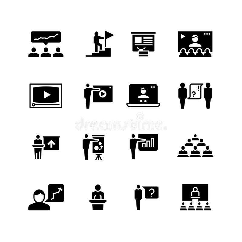 Prezentaci wydarzenia biznesowi symbole Stażowe wideokonferencja ikony Ucznie w klasie z głośnikowymi piktogramami wektorowymi ilustracja wektor