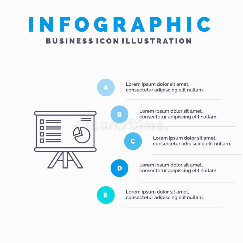 Prezentacja, analityka, biznes, mapa, wykres, marketing, raport Kreskowa ikona z 5 kroków prezentacji infographics tłem ilustracji