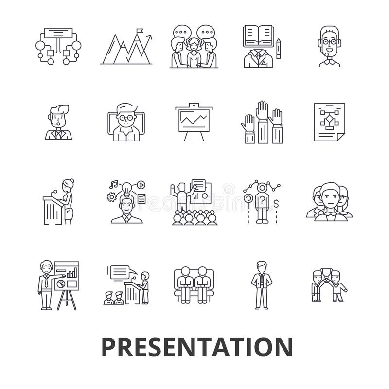 Prezentacja, biznes, podawca, spotkanie, konferencja, konwersatorium, mówca, mowa kreskowe ikony Editable uderzenia mieszkanie ilustracja wektor