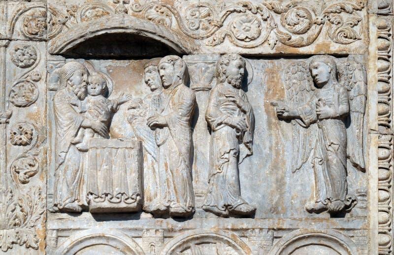 Prezentacja Jezus w aniele i świątyni pojawiać się Joseph w sen mówić on uciekać Egipt obrazy royalty free