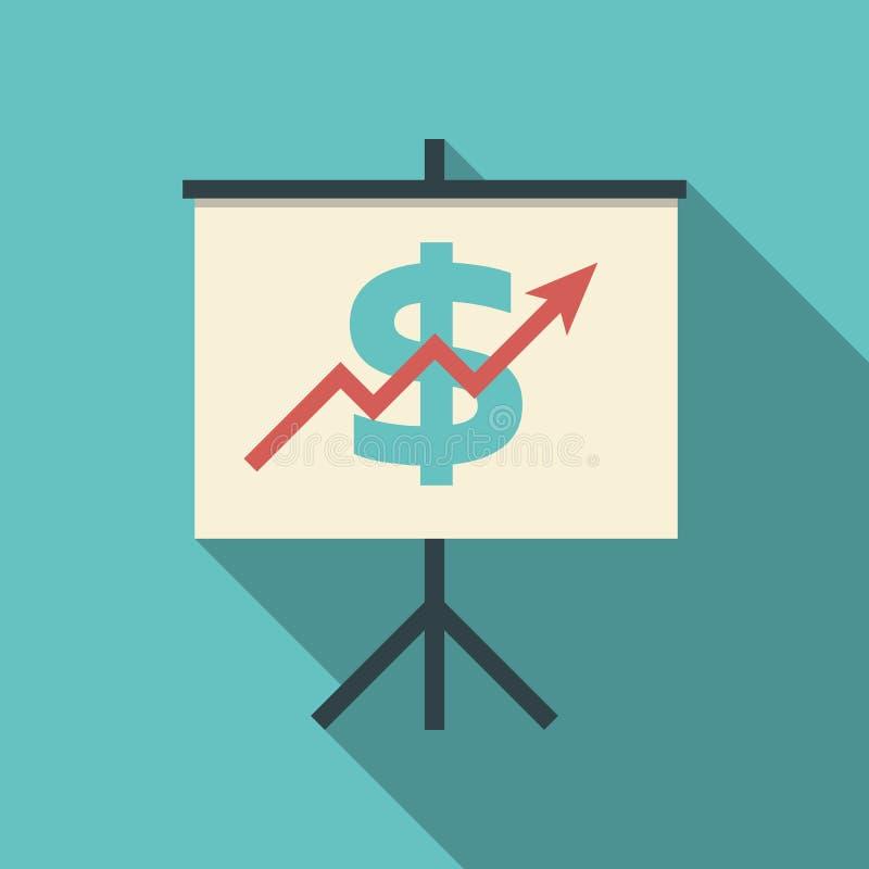 Prezentacja na flipchart z dolarowym znakiem i ilustracji