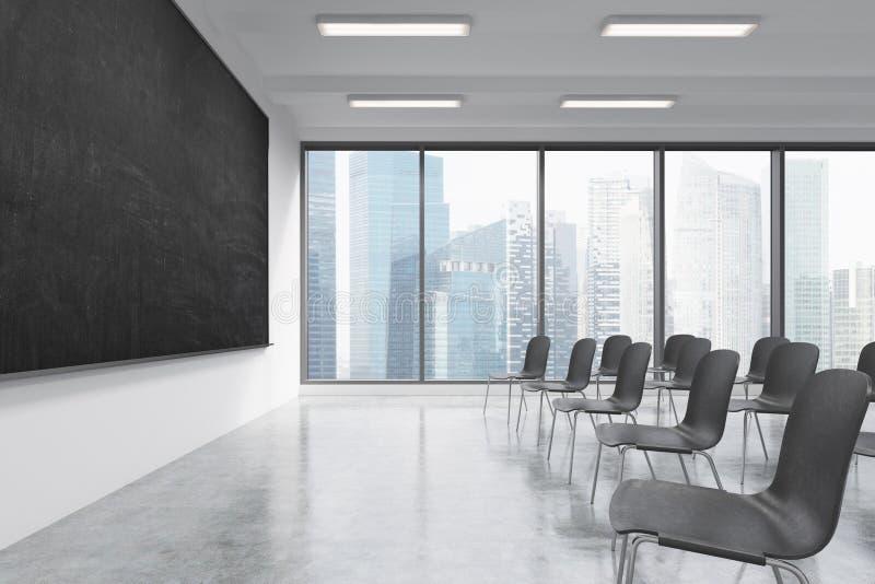 Prezentacja pokój w, sala lekcyjna lub Czerni krzesła, czarny chalkboard na ścianie i panorami, ilustracji