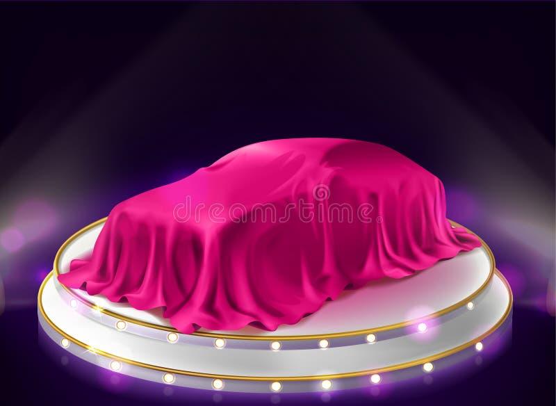 Prezentacja samochodu, samoprzykryta zasłoną na scenie ilustracji