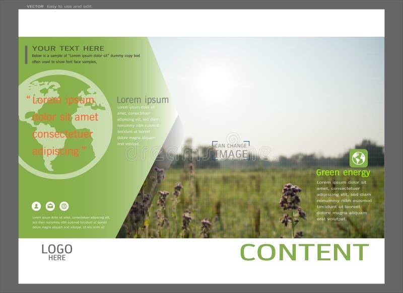 Prezentacja układu projekt dla greenery okładkowej strony szablonu, Abstrakcjonistyczny wektorowy nowożytny tło royalty ilustracja
