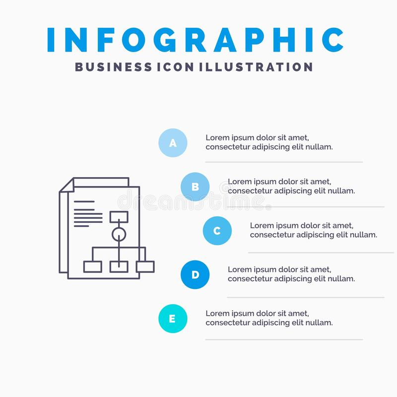 Prezentacja, wykres, faktura, raport Kreskowa ikona z 5 kroków prezentacji infographics tłem royalty ilustracja