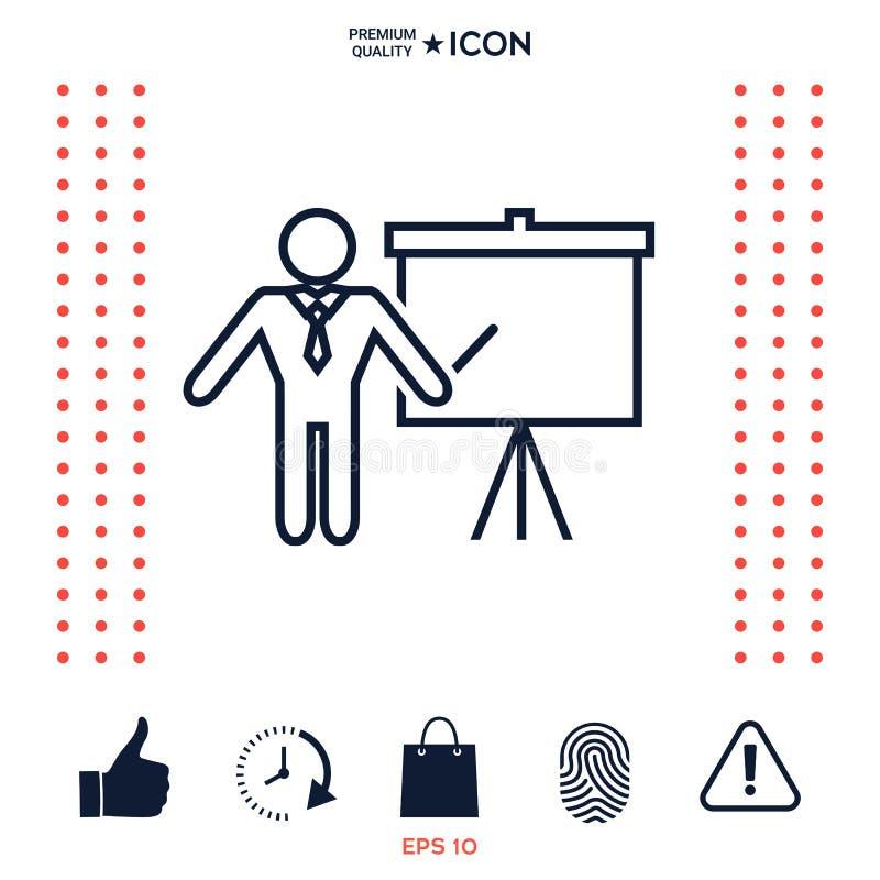 Prezentacja znak - kreskowa ikona Obsługuje pozycję z pointerem blisko trzepnięcie mapy Puste miejsce billboardu pusty symbol ilustracji