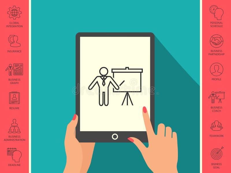 Prezentacja znak - kreskowa ikona Obsługuje pozycję z pointerem blisko trzepnięcie mapy Puste miejsce billboardu pusty symbol royalty ilustracja