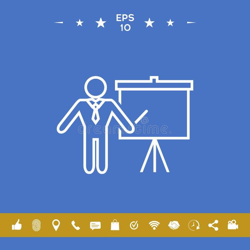 Prezentacja znak - kreskowa ikona Obsługuje pozycję z pointerem blisko trzepnięcie mapy Puste miejsce billboardu pusty symbol ilustracja wektor