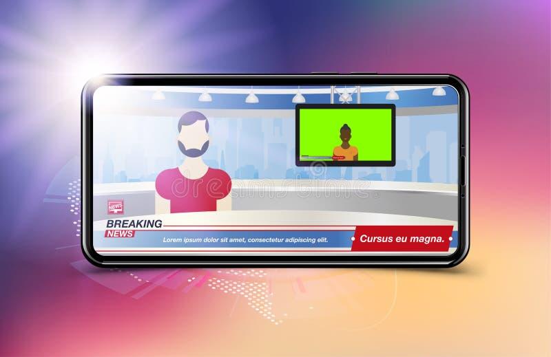 Prezenter telewizyjny w wiadomości dnia Sztandar wiadomości dnia szablon w realistycznym smartphone na colour tle Pojęcie dla ekr ilustracji