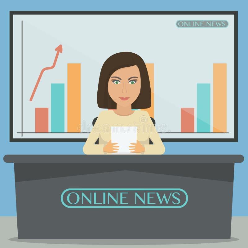 Prezenter telewizyjny, wiadomość spiker w studiu ilustracji