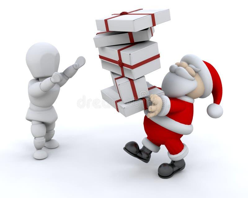 prezenty dają Santa ilustracja wektor