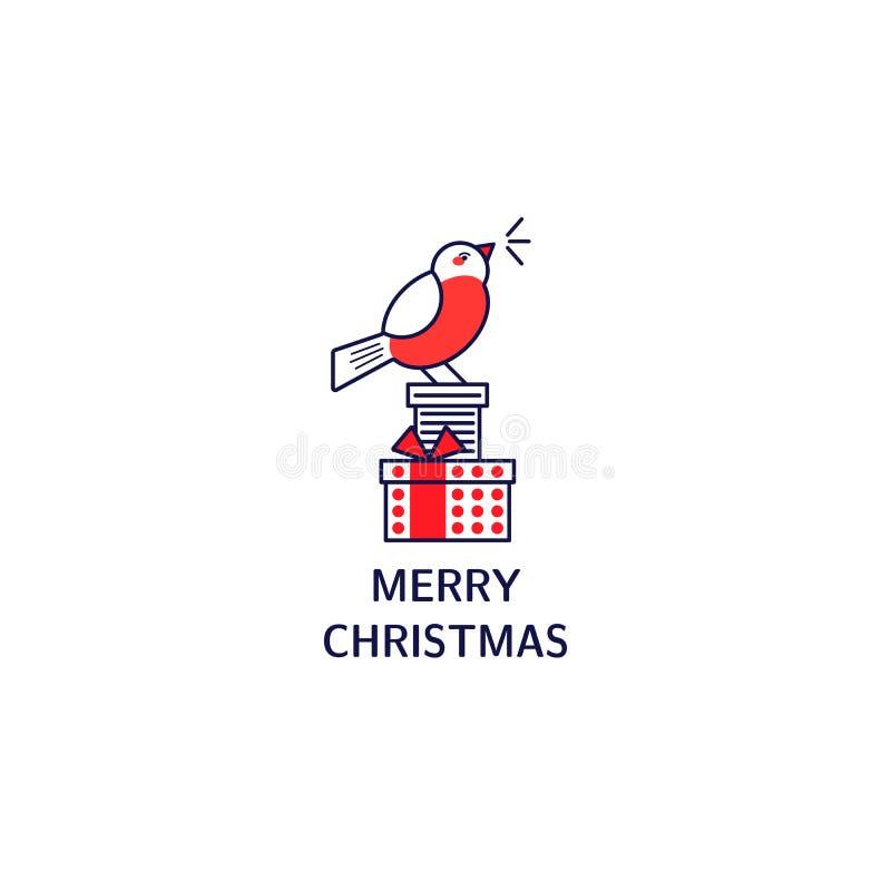 Prezenty, gile z tekstem Kartka bożonarodzeniowa z kreskowego stylu ikonami ilustracji