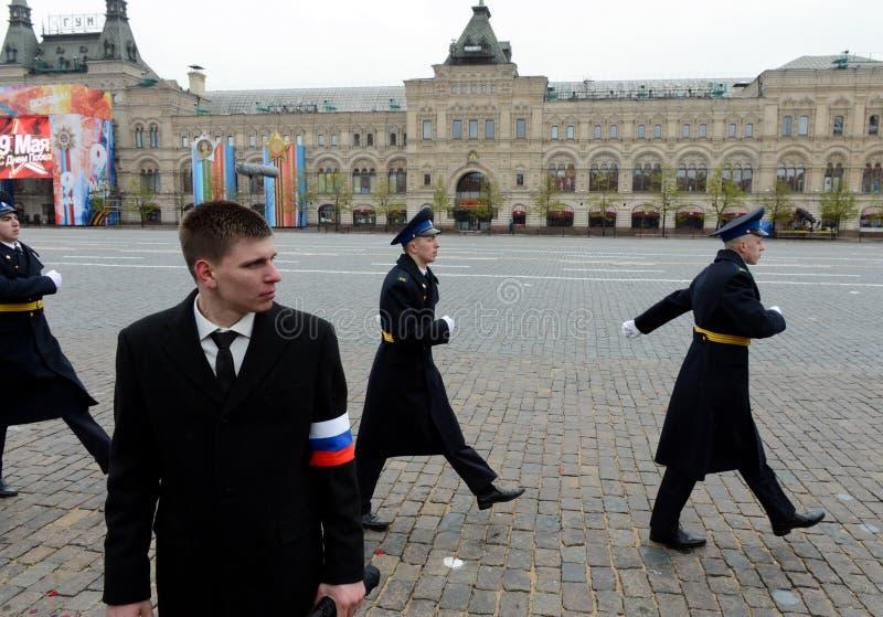 Prezydenccy pułków żołnierze podczas militarnej parady na placu czerwonym zdjęcie stock