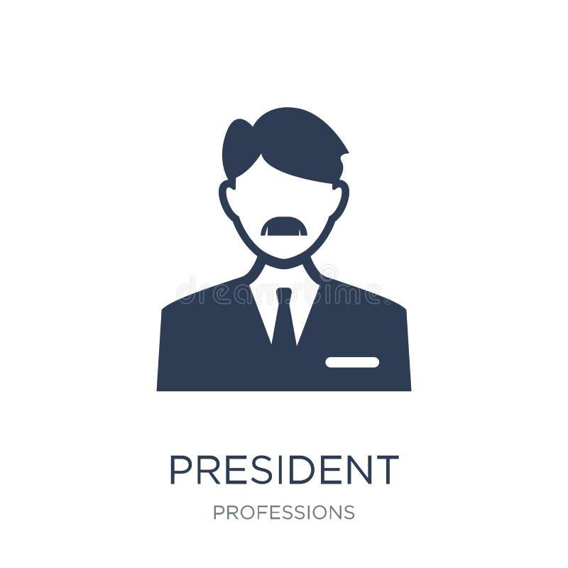 Prezydent ikona Modna płaska wektorowa prezydent ikona na białym backg ilustracja wektor