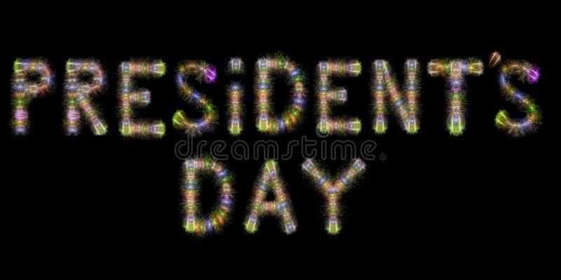 Prezydenta dnia kolorowych iskrzastych fajerwerków horyzontalni czarni półdupki obraz stock