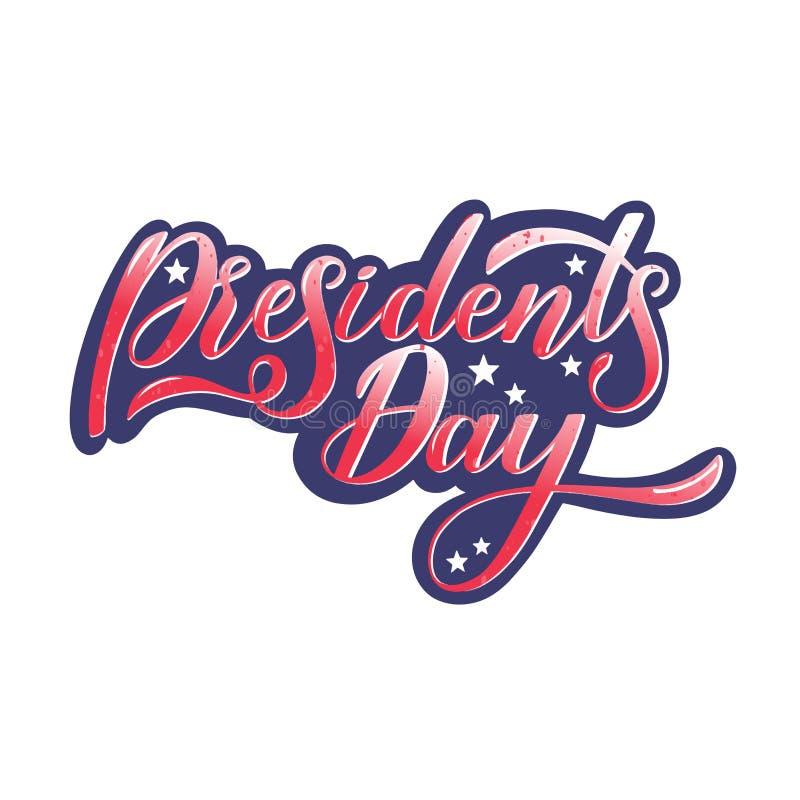 Prezydenta dnia ręcznie pisany literowanie ilustracji