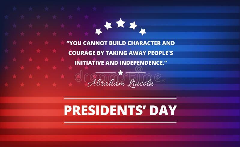 Prezydenta dnia tło z Abraham Lincoln inspiracyjną wycena ilustracji