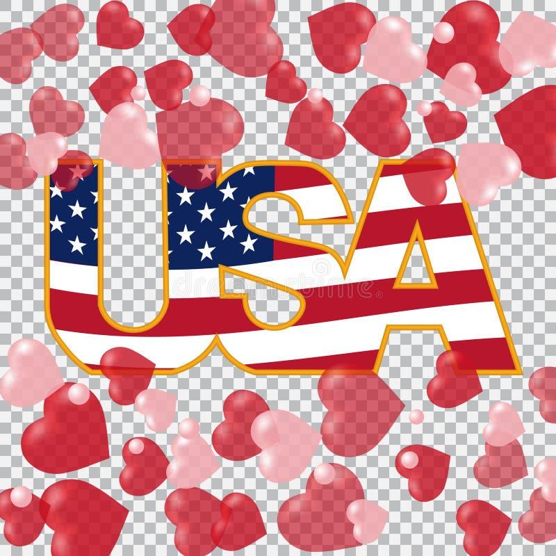 Prezydenta ` dzień USA inskrypcja na półprzezroczystych tło sercach nakrywa i zgłębia również zwrócić corel ilustracji wektora ilustracja wektor