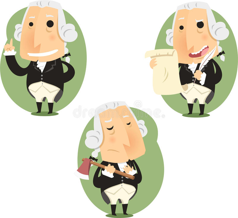 Prezydenta George Washington kreskówki akci set royalty ilustracja
