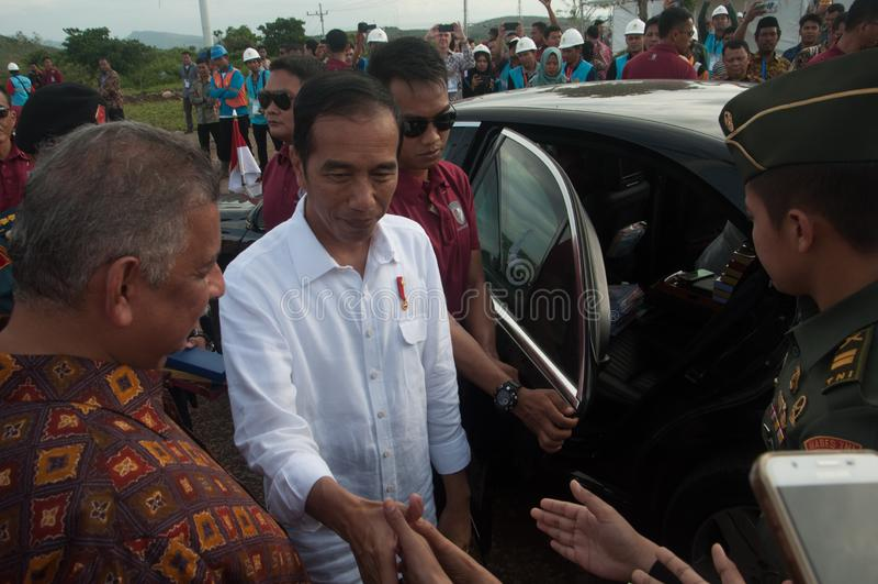 Prezydenta Joko Sidrap Widodo Inaugurująca farma wiatrowa zdjęcia stock