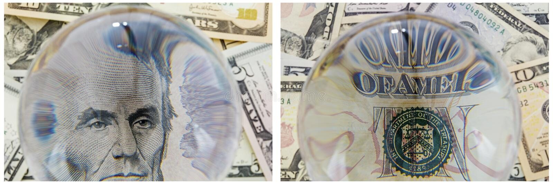 Prezydenta Lincoln portreta pieniądze gotówki kolaż ilustracji
