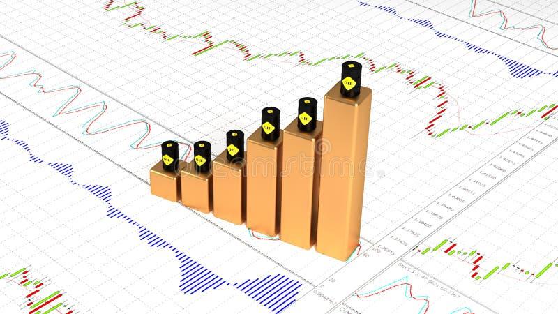 Prezzi in aumento di olio, combustibile diesel I prezzi del petrolio stanno aumentando illustrazione 3D royalty illustrazione gratis