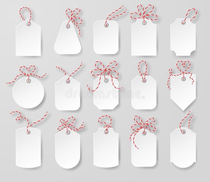 Prezzi da pagare e carte di regalo legate con gli archi della cordicella messi royalty illustrazione gratis