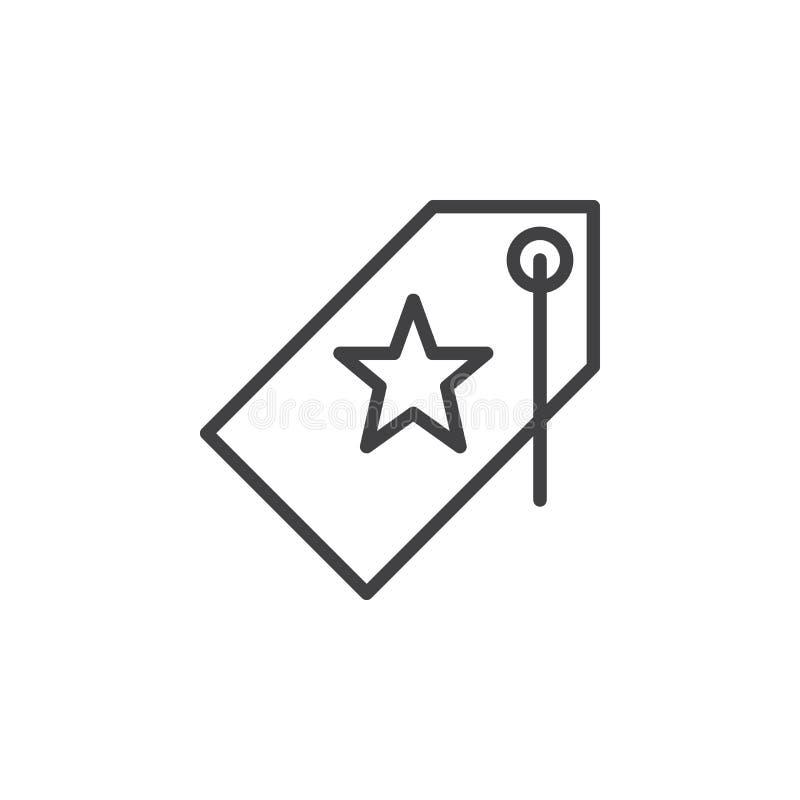 Prezzo da pagare con la linea icona, segno della stella di vettore del profilo royalty illustrazione gratis