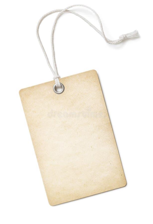 Prezzo da pagare d'annata o etichetta della carta in bianco isolata sopra fotografia stock