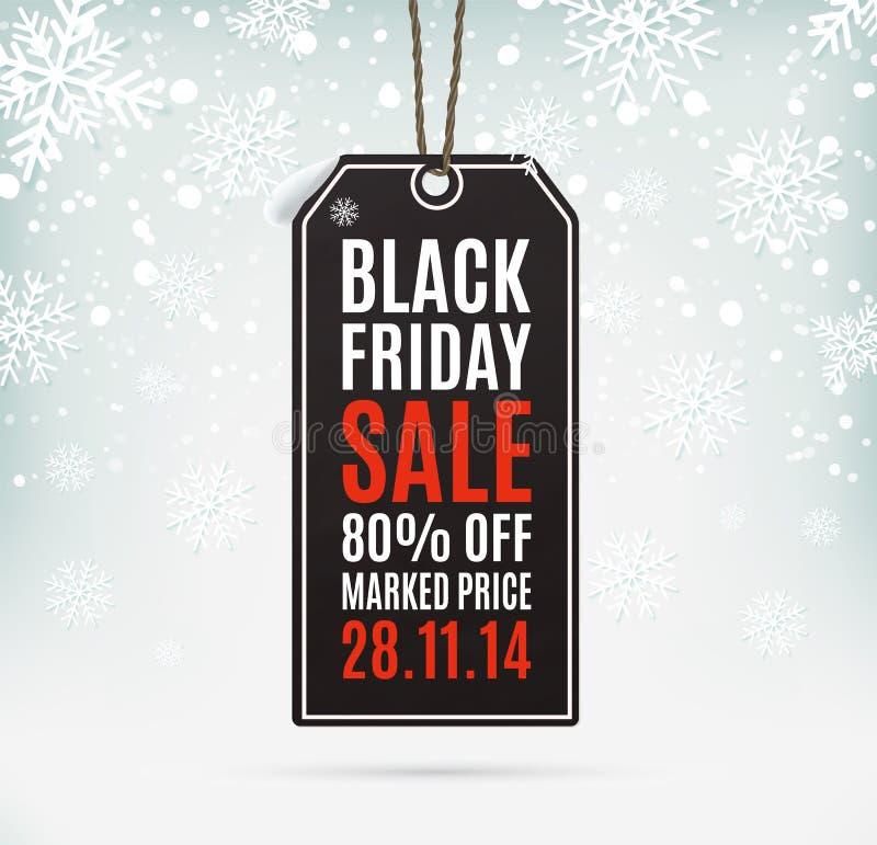 Prezzo da pagare di carta realistico di vendita di Black Friday royalty illustrazione gratis