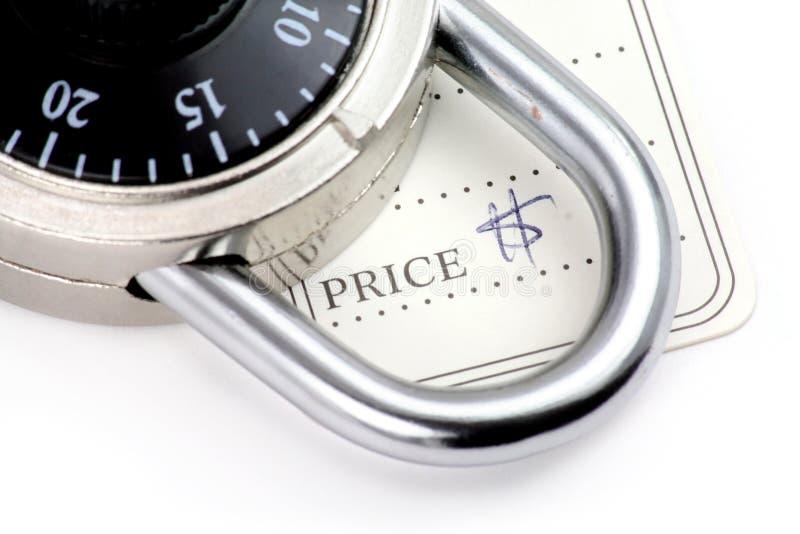 Prezzo da pagare e serratura immagine stock libera da diritti