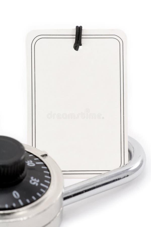 Prezzo da pagare e serratura in bianco fotografia stock