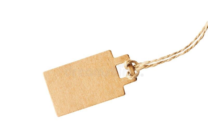 Prezzo da pagare marrone in bianco del cartone, etichetta di vendita, etichetta del regalo, etichetta di indirizzo isolata su fon immagine stock libera da diritti