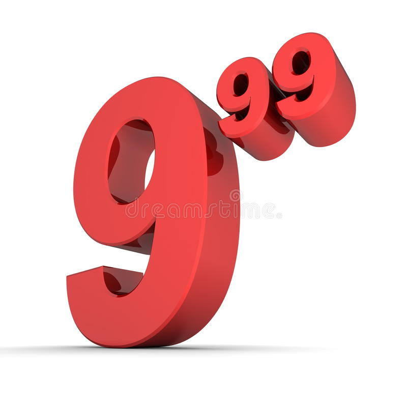 Prezzo da pagare solido numero 9.99 - colore rosso lucido royalty illustrazione gratis