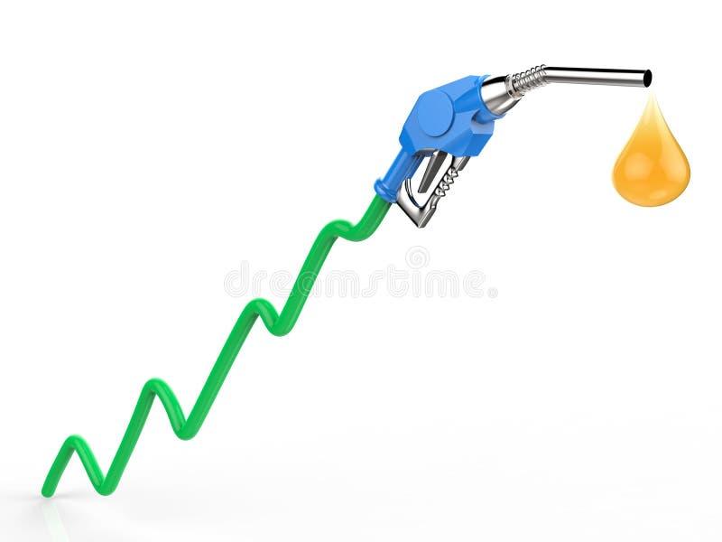 Prezzo del petrolio in aumento con il grafico, l'ugello del passaggio del gas e la gocciolina verdi di olio illustrazione vettoriale