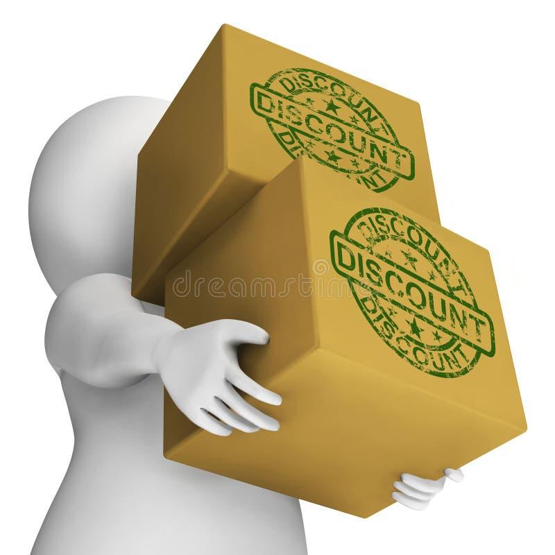 Prezzo scontato manifestazione delle scatole di sconto e fuori illustrazione di stock