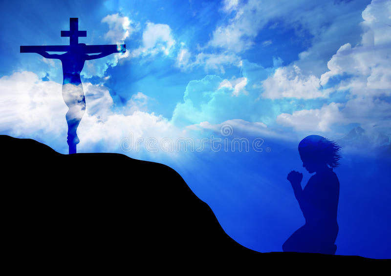 Prière à la croix images libres de droits