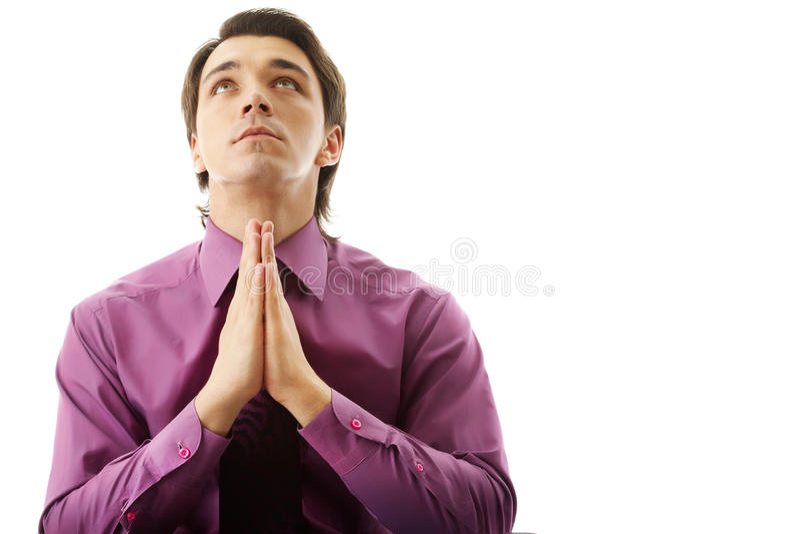 Prière d'homme d'affaires image libre de droits