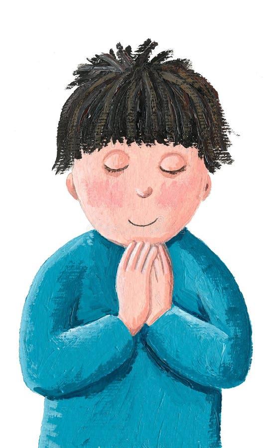Prière de petit garçon illustration de vecteur