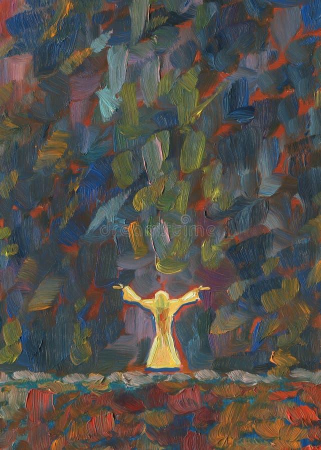 Prière fleuve de peinture à l'huile d'horizontal de forêt illustration libre de droits