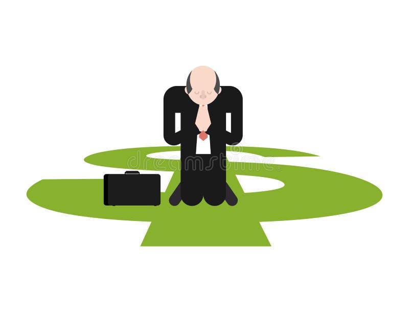 Prière pour l'argent L'homme d'affaires prie sur ses genoux au dollar illustration libre de droits