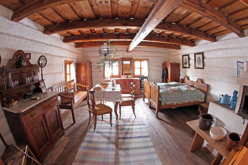 Pribylina - εσωτερικό του αγροτικού σπιτιού στοκ φωτογραφία με δικαίωμα ελεύθερης χρήσης